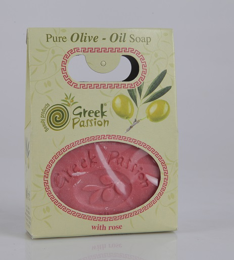 Premium Quality Pure & Natural Traditional Greek Olive Oil Bar Soap with Rose - Bath - Body - Hand - Face Cleansing