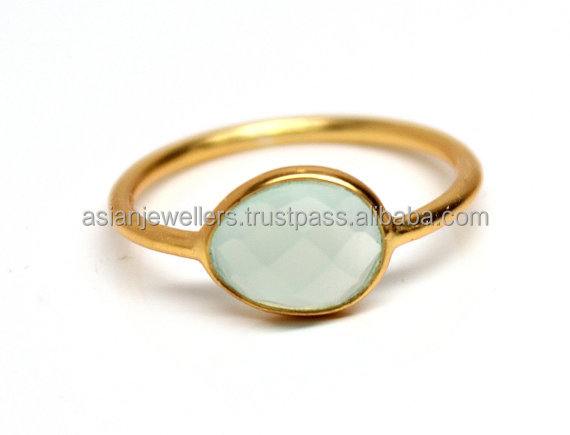 Gold Plated Handmade Aqua Chalcedony vermeil Ring Sterling silver Jewelry