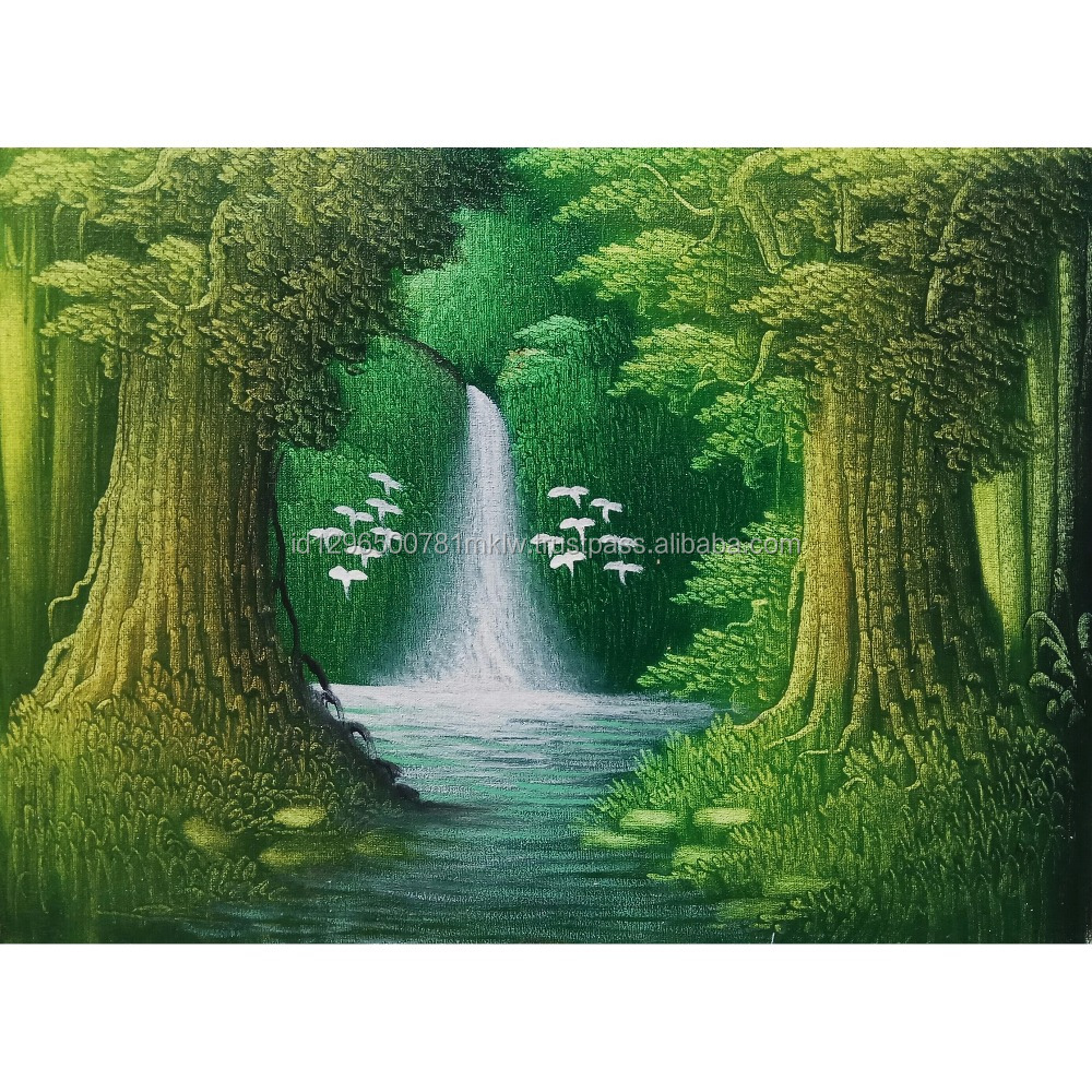 Wall Art Home Decoration Handmade Original Indonesia Waterfall Oil Painting