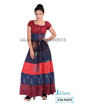 Rayon Mandala Dresses Block Printed Long Dresses sarouel Vetement Cloth long fancy dresses