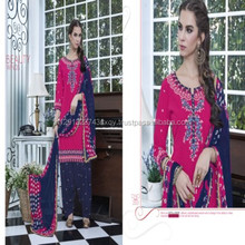 Awesome Color Combination With Printed and Embroidered Designer Panjabi Style Patiala Salwar Kameez