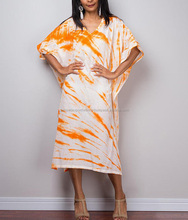 New Stylish Tie Dye Summer Tunic Orange and White Kaftan Beach caftan