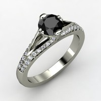 Party Wear Real Black Solitaire With White Accents Diamond Ring 14K White Gold
