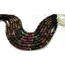 Multi tourmaline roundel faceted loose beads