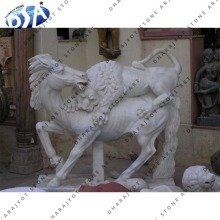 Hot Sale Best Quality White Marble Polished Horse With Lion Statue