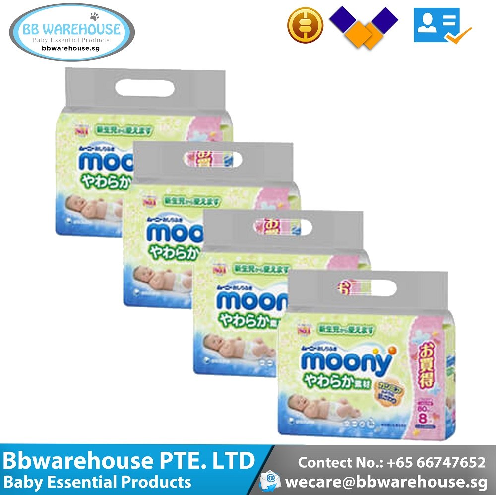 Antibacterial Ultra Gentle & Soft Moony Baby Wet Wipes 80pcs x 32 (Super Carton Deal) for Newborn Baby