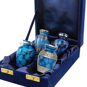 Set of 4 Small Mini Keepsake Urns For Human Ashes in Blue Fire Finish with Velvet Box