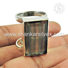 Double round single finger ring silver jewelry fluorite gemstone 925 sterling silver jewellery silver rings wholesaler