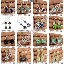 Hot fashion natural stone earrings silver jewelry indian wholesale 925 sterling silver handmade jewellery supplier