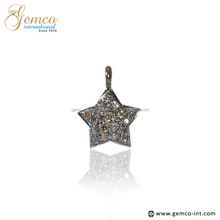 Christmas Handmade Sterling Silver Pave Diamond Star Charms Pendant