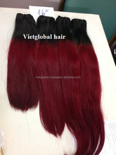 Ombre Natural Black and Red Color Human Hair Weaving