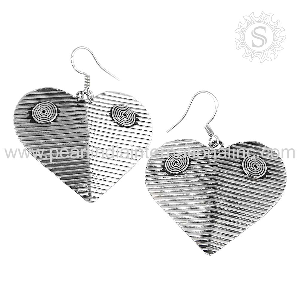 Momentous heart design plain silver earring 925 silver jewelry supplier indian silver jewelry wholesaler