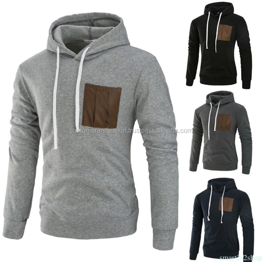 DELIGHT Men Fashion Fitted HOODIE with front Cell Phone Pocket