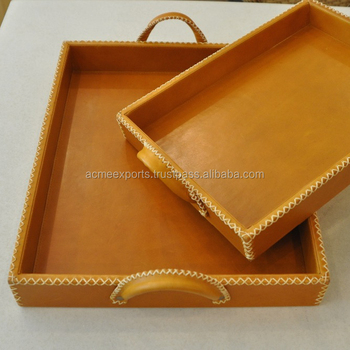 PU leather Serving Trays | new environmental unfinished wooden serving tray | wood leather jewelry trays