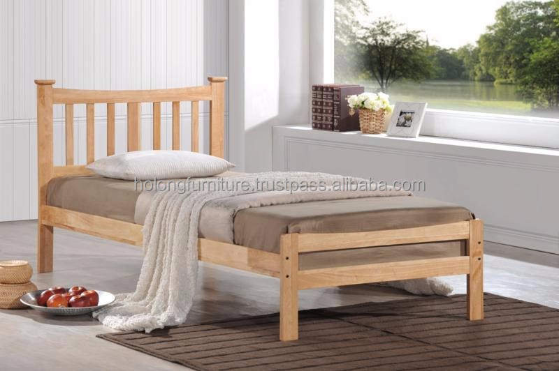 Solid Wood Bed, Wooden Single Bed, Rubber Wood Furniture