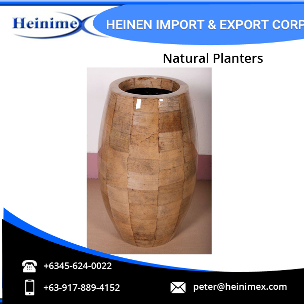 High Quality Fiberglass and Dried Banana Leaves Made Planters for Wholesale