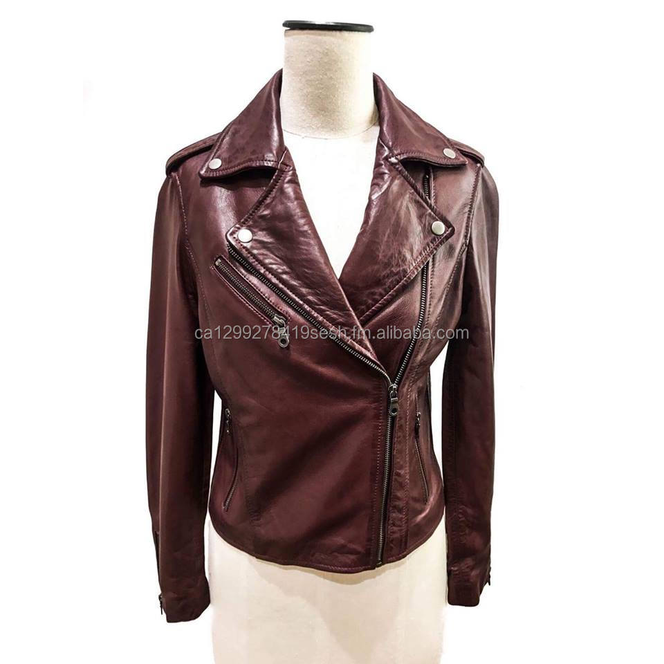 Ladies Motorbike Style Vintage Sheep Leather Short Jacket With Side Elastic