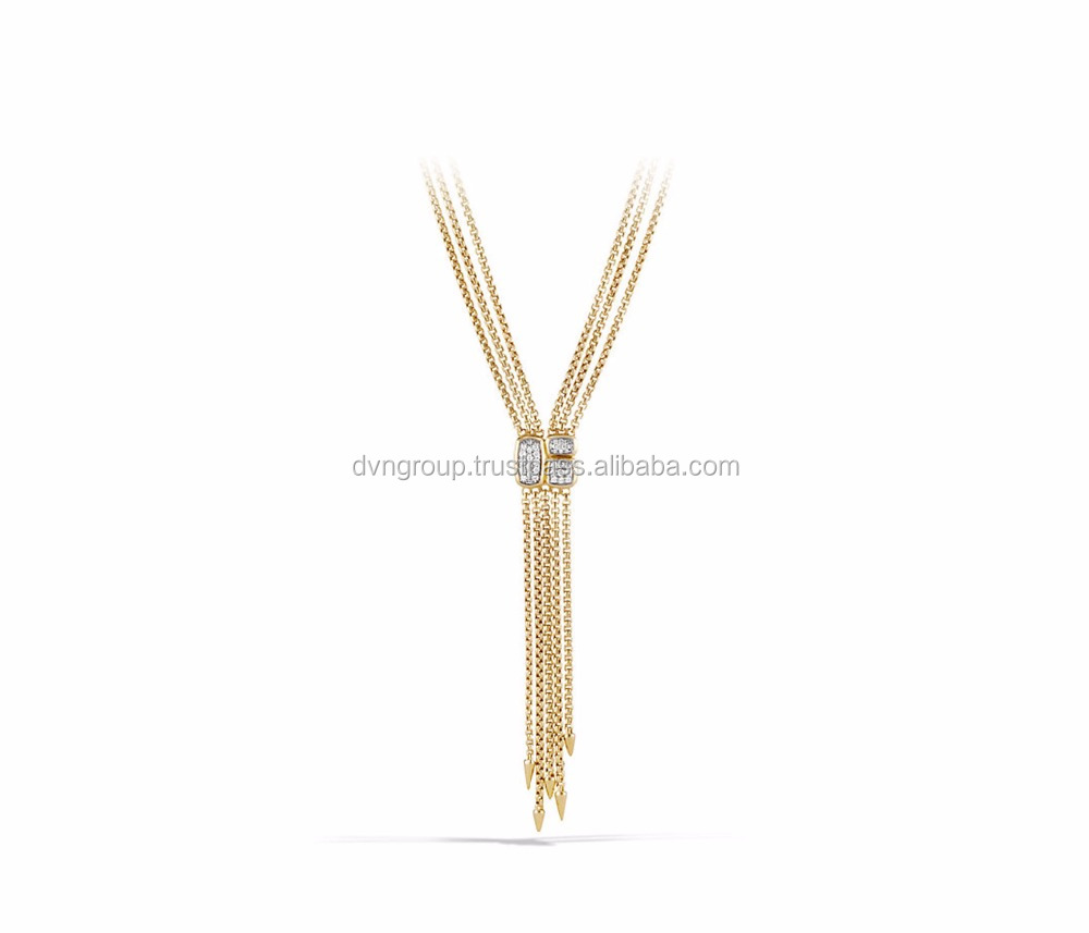 Gold Plated CZ Studded Tassel Pendant