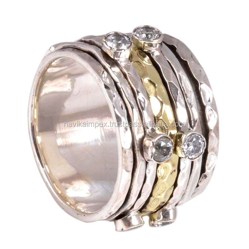 Unisex hammered brass silver meditation white cz ring