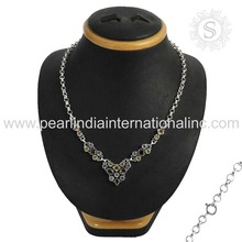 multi silver necklace 925 sterling silver natural gemstone necklace wholesaler silver jewelry india