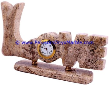 MARBLE CLOCKS LOVE WORD SHAPE HANDCARVED NATURAL STONE