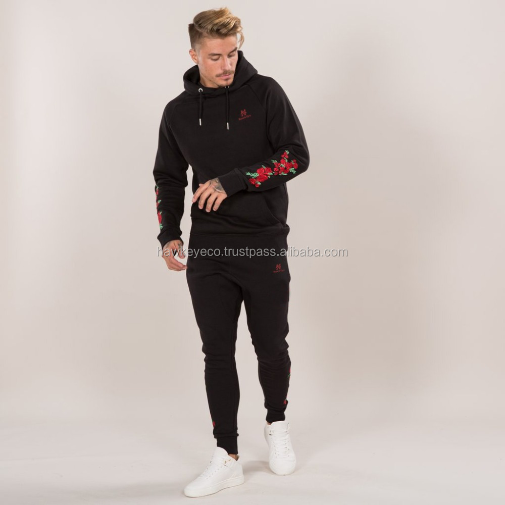 Men full black with flowers embroidery tracksuit manufacture by Hawk Eye Co. ( PayPal Accepted )