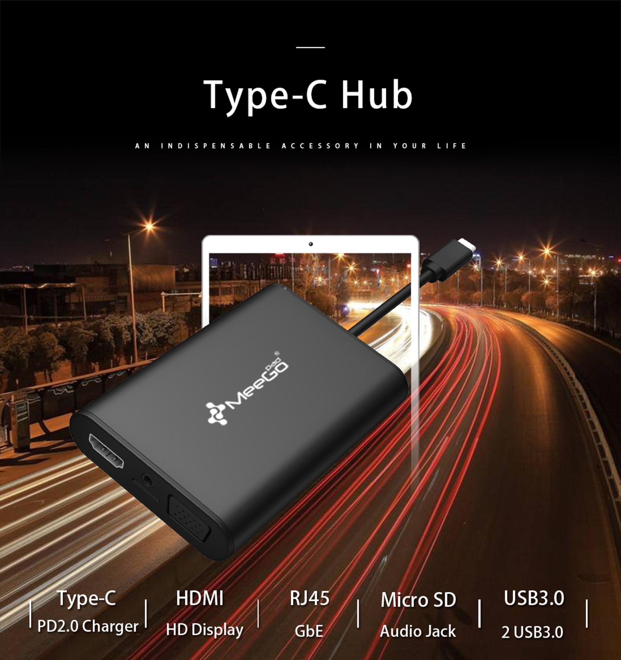 MEEGOPAD 8 in 1 Wholesale HD&MI+ VGA 3.5mm USB TF USB3.0 RJ45 Type C Hub Usb Hub with Audio