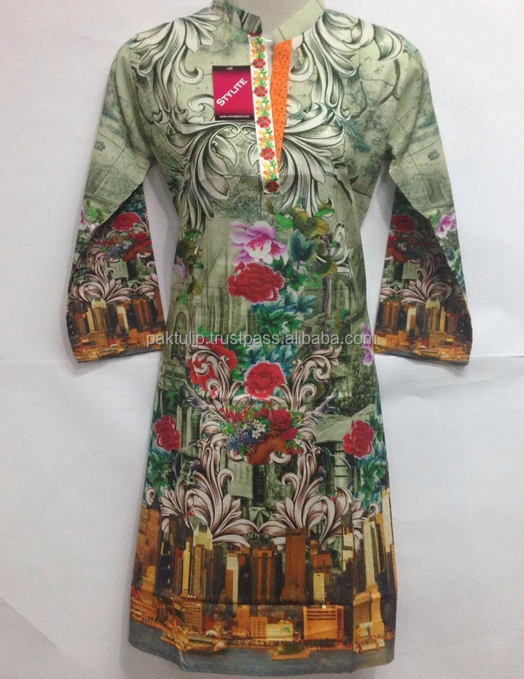 Ladies Digital Printed and Stitched Kurti with Latest and Eye Catching Designs Slim Fit Size