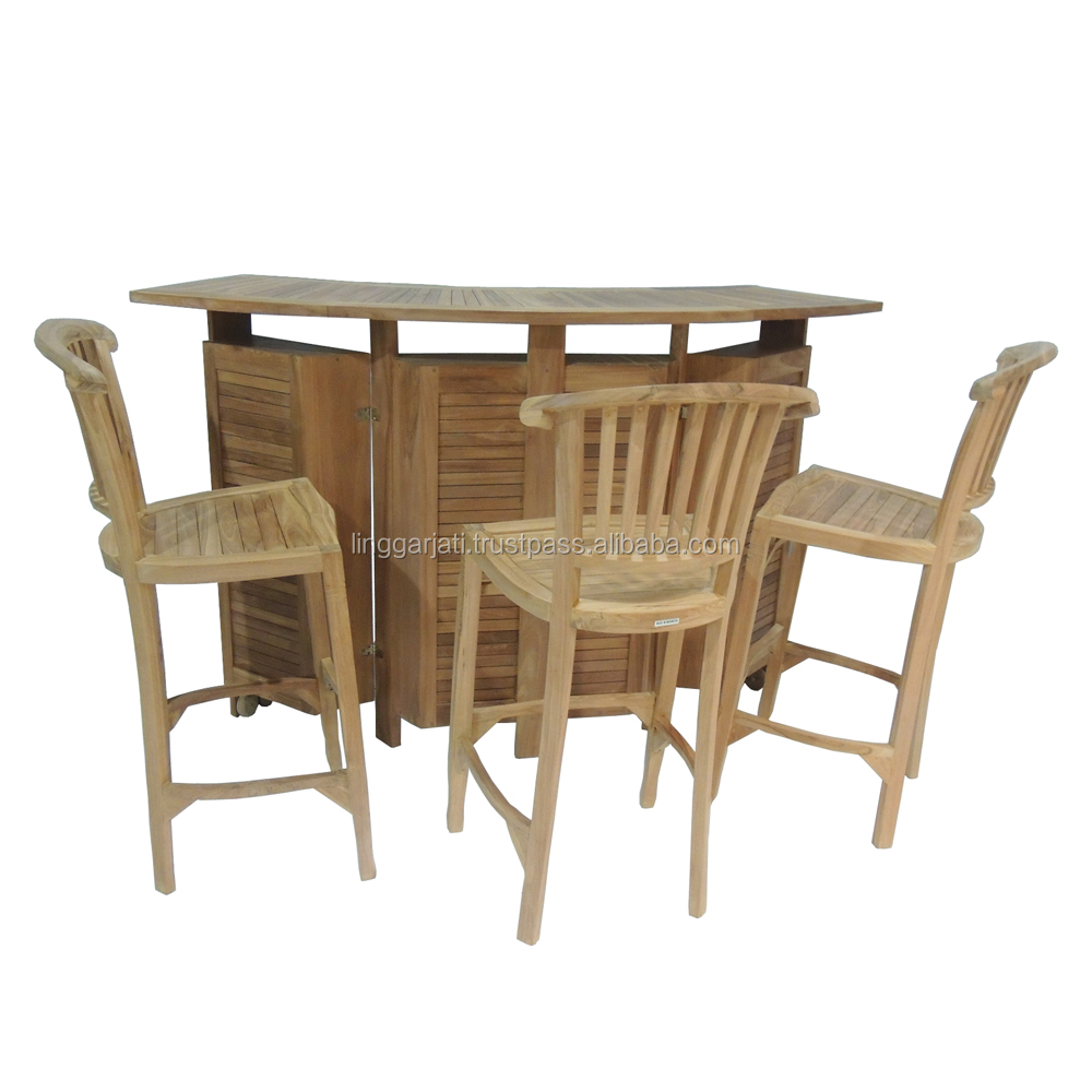 High Quality Teak Wood Bar Table Set And Chair with Wheels