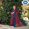 NP Red And Blue Silk Saree