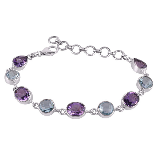 Latest Collection 2018 Faceted Purple Amethyst and Blue Topaz Gemstone Sterling Silver Hand Bracelet