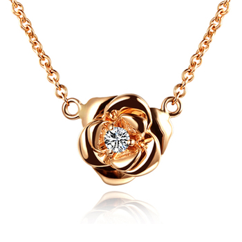 18k White/Yellow/Rose Gold Real Natural Diamond Pendant Necklace Chain