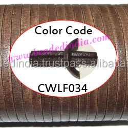 Leather Cords 2.5mm flat, regular color - dark brown. Weight: 550 grams. CWLF25034
