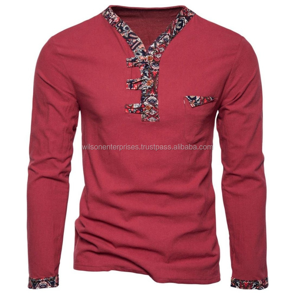Fashion Men's V Neck Long Sleeve Muscle Tee T-Shirt Casual Tops Polo Shirt