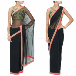 Black colored designer saree with heavy blouse