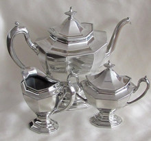 Brass silver plated tea set with sugar pot and milk pot