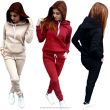 2017 Autumn and Winter Ladies Hoody Sportswear Set Solid Pocket Women's Casual Tracksuits Track Suit Women Clothing Set