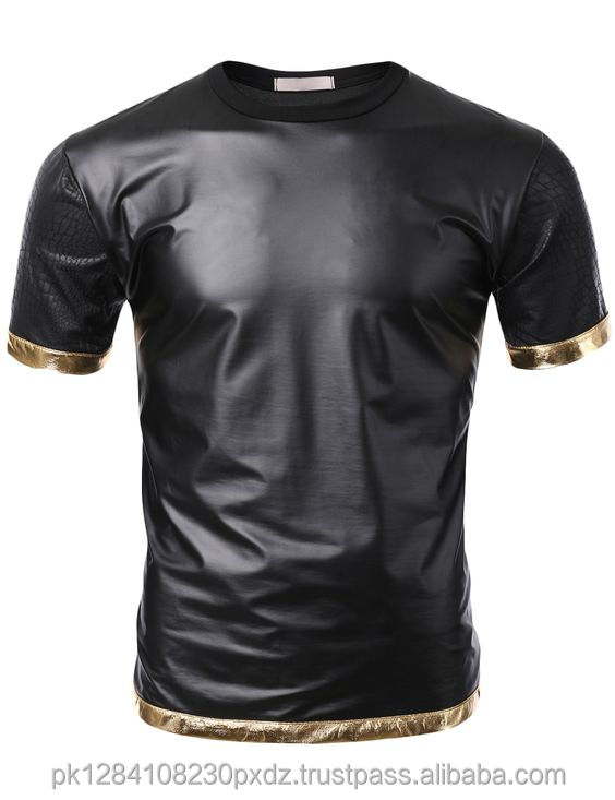 Snake Leather Sleeve T-shirt with Gold Trim