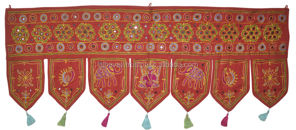 Handmade Good Luck Red Embroidered Mirrored Toran Window Valance Door Hanging Topper 42X17 Inches