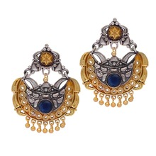 Rajasthani Traditional Two Tone Oxidised Silver & Gold Plated Blue Stone Studded Vintage Dangler Earrings