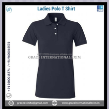 Dark Blue New Design Ladies Short Sleeve Cotton Polo T shirts