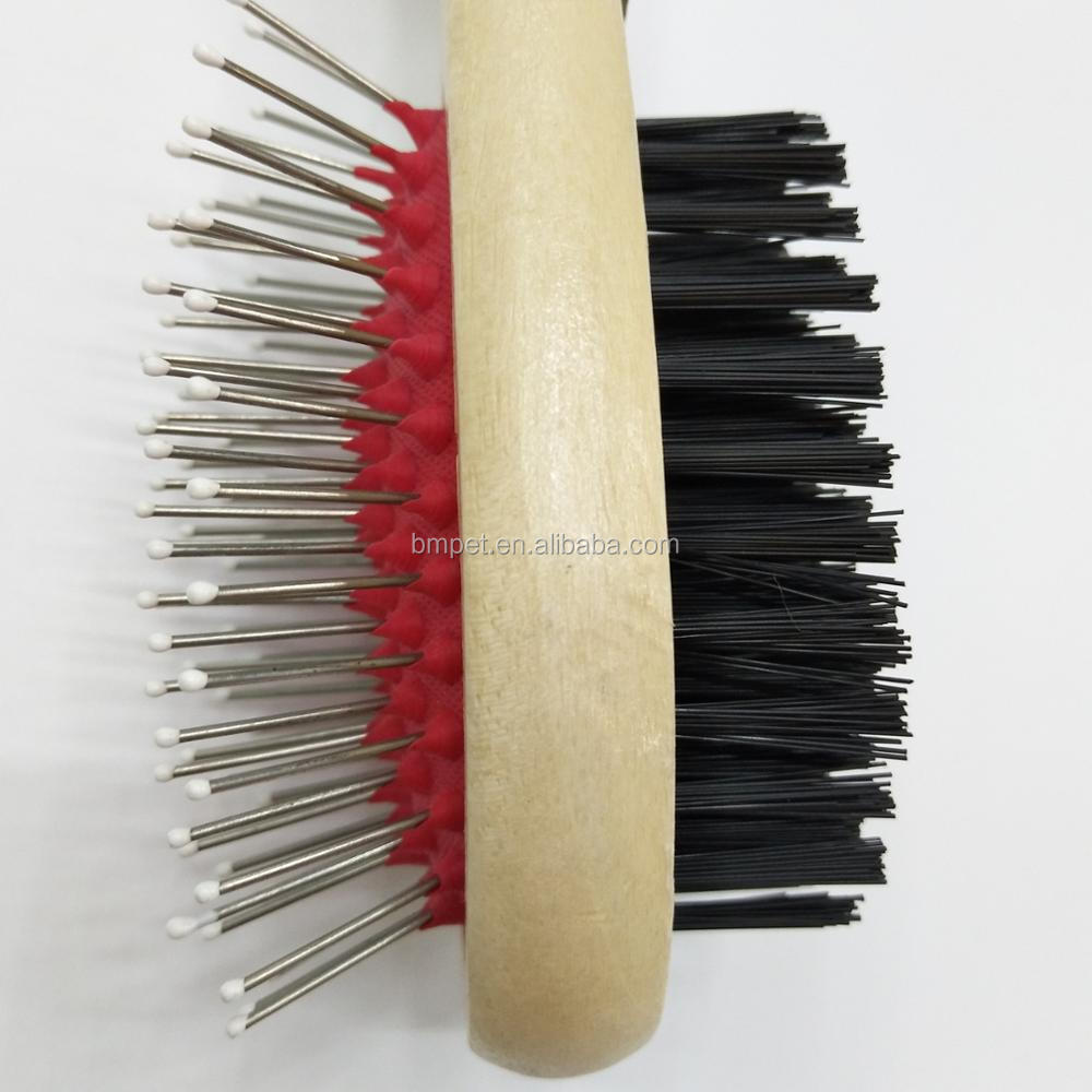 Double Sided Wooden Dog Grooming Brush