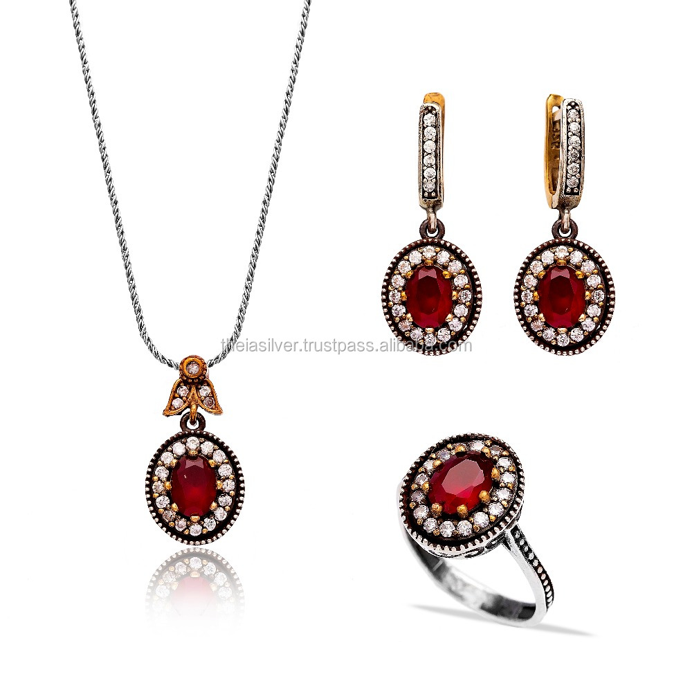 Designs For Girl 925 Sterling Silver Jewelery Authentic Handcrafted Wholesale Turkish Silver Set