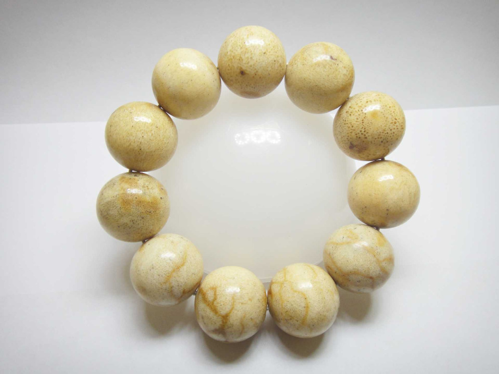 11 Beads Genuine White Coral Indonesian Handmade Beaded Bracelet 20 mm
