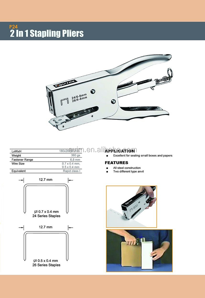 P24 Wire Size 24 Series & 26 Series 2 in 1 Stapling Plier