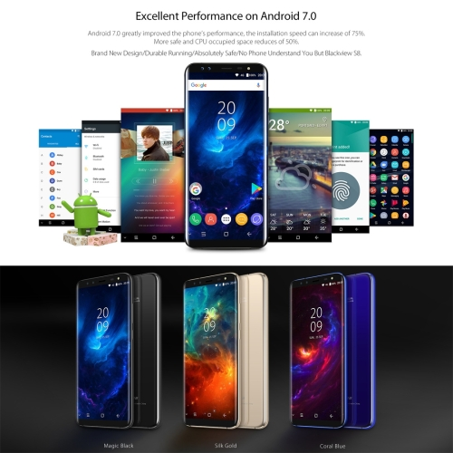 Android Smartphone Unlocked 4 Cameras Blackview S8, 4GB+64GB Drop shipping Service