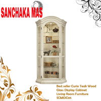 Best seller Curio Teak Wood Glass Display Cabinet Living Room Furniture