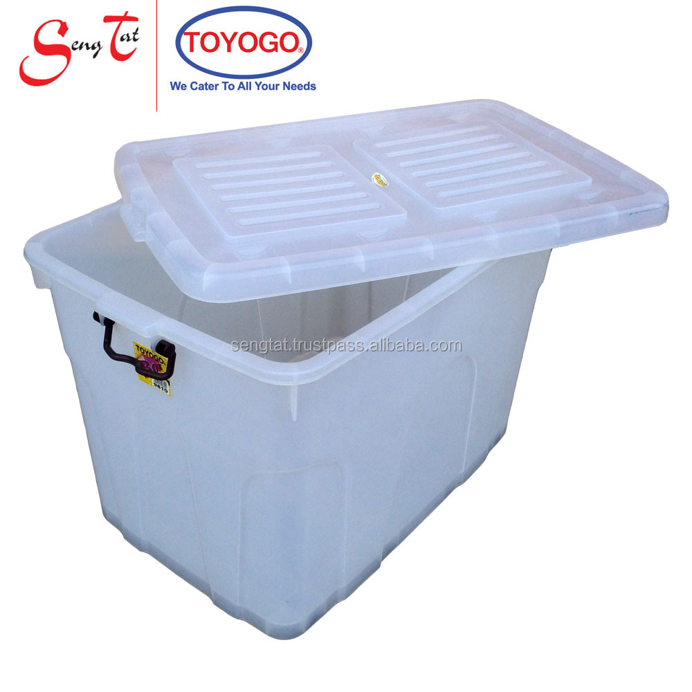 221L Large Translucent Easy Moving Stackable/Nestable Storage Bin Storage Container with Cover, Latch, Wheels Storage Box (9810)