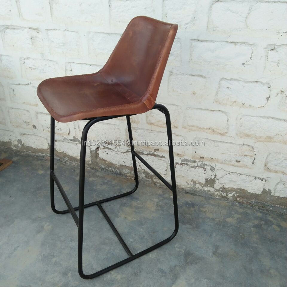 Giron iron & leather dining High Bar chair