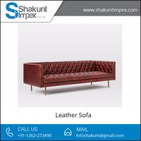 Classic Look Metal Legs Chesterfield Leather Sofa Available at Low Market Price